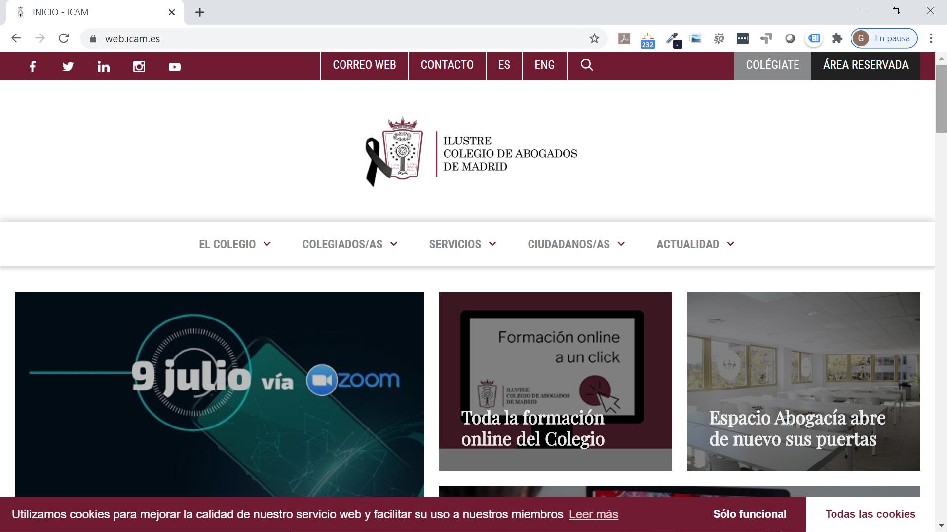 Rediseño de nueva web ICAM